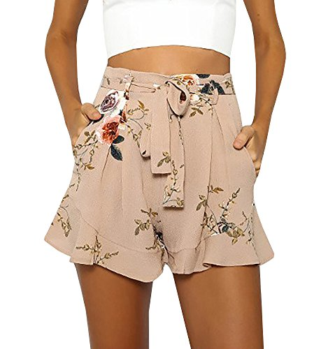 Imysty Womens Boho Floral Print High Waist Belt Summer Hot Pants ... 5c3fb3d45