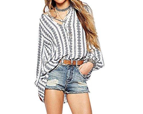 Aprilley Women V Neck Boho Printed Slim Fit T Shirt Blouse Pullover ... 03fd20f90