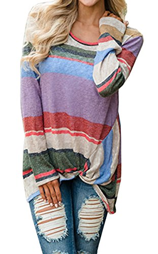 Hibluco Women s Casual Long Sleeve T-shirts Multi-color Blouse ... 0434230cd