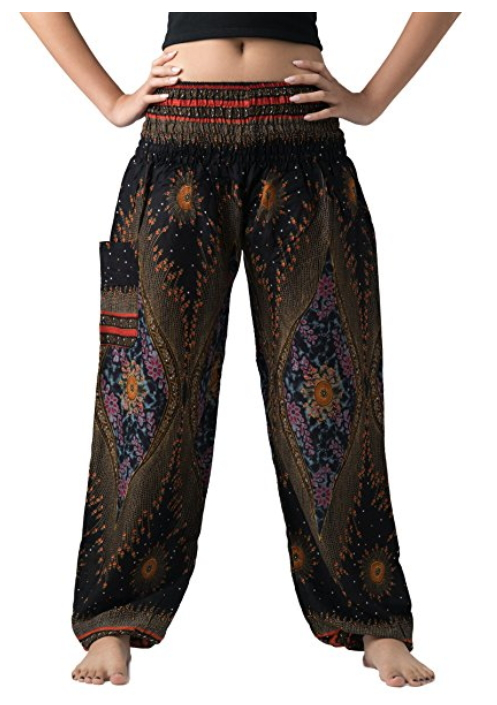 Bangkokpants Women S Boho Pants Hippie Clothes Yoga Outfits Peacock Design One Size Fits Boho Clothing Boutique