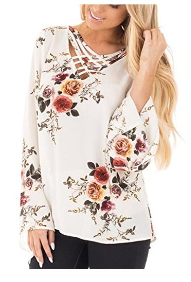 b015385ae2 SMACOO Women s Boho Style Tops Casual Floral Print V Neck Crisscross Long  sleeves Chiffon Blouse
