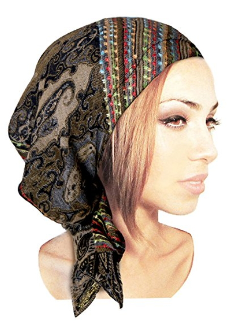 0764905cadf ShariRose Boho Chic Pre-tied Headwear Versatile Ties Cool Knit Pashima  Ethnic Print Collection. Hats