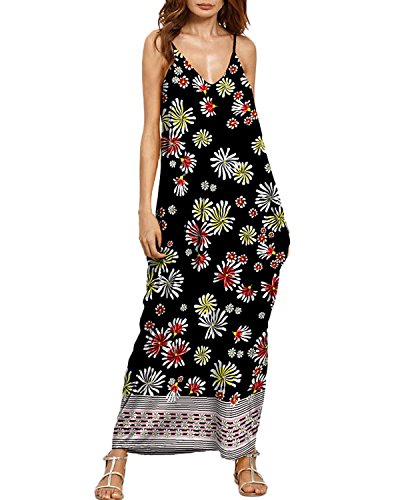 Auxo Women Boho Maxi Dress Floral Sundress Printed V Neck Strappy ... ddb39027420f