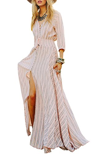 R.Vivimos Women 3 4 Sleeve Striped V-neck Button-up Empire Waist ... 4154854ac