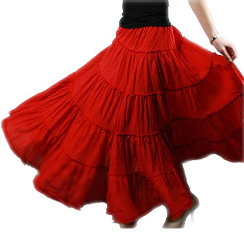 e7d74e22480 Vateno Boho Gypsy Skirt For Women Maxi Plus Size Skirt Pleated Skirt Dress  Pioneer Belly Dance Spani Long Length Cotton