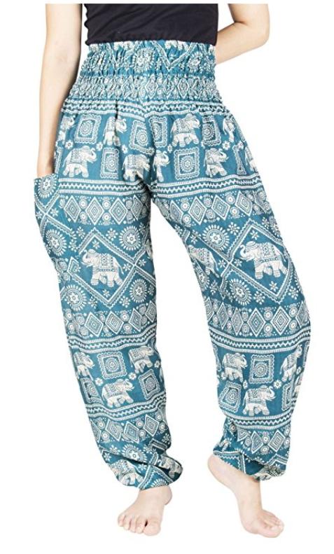 ed91f8c1a5b Lofbaz Women s Rayon Print Smocked Waist Boho Harem Pants