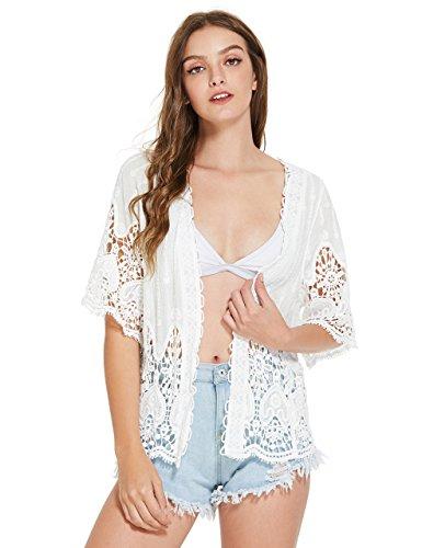 fd6ba76708cf85 SweatyRocks Women s Floral Lace Crochet Kimono Cardigan Beach Wear ...
