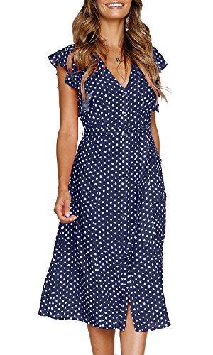 MITILLY Women s Summer Boho Polka Dot Sleeveless V Neck Swing Midi ... f17dbc569
