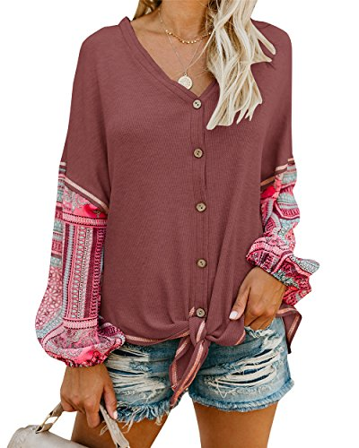 82452e0a5c Shele Womens Boho Tie Front Button Down Shirts Thermal Henley V Neck ...