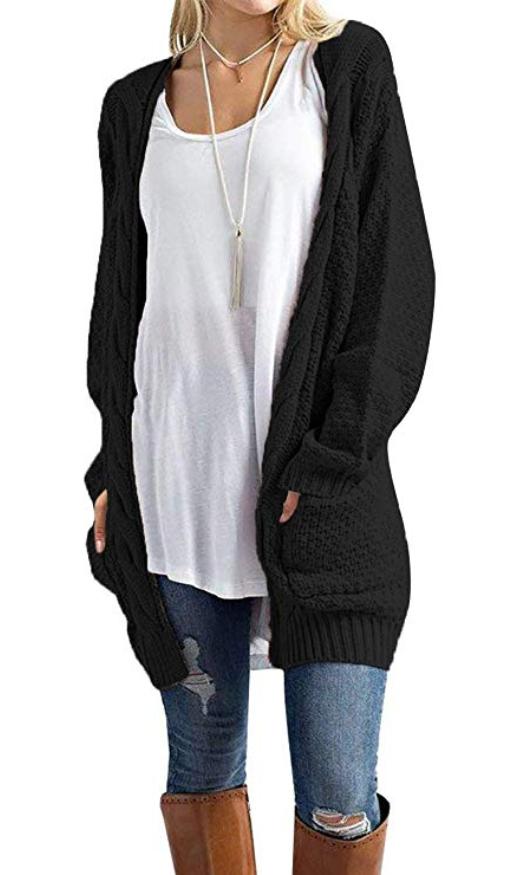 d3fbdd7388 Traleubie Women s Open Front Long Sleeve Boho Boyfriend Knit Chunky Cardigan  Sweater